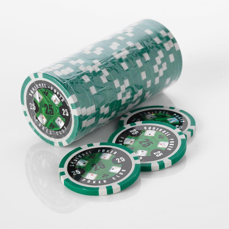 15G Poker Chips - Design - Squirrel Poker Poker Club 15G Poker Chips Colour = Green, Value = $25