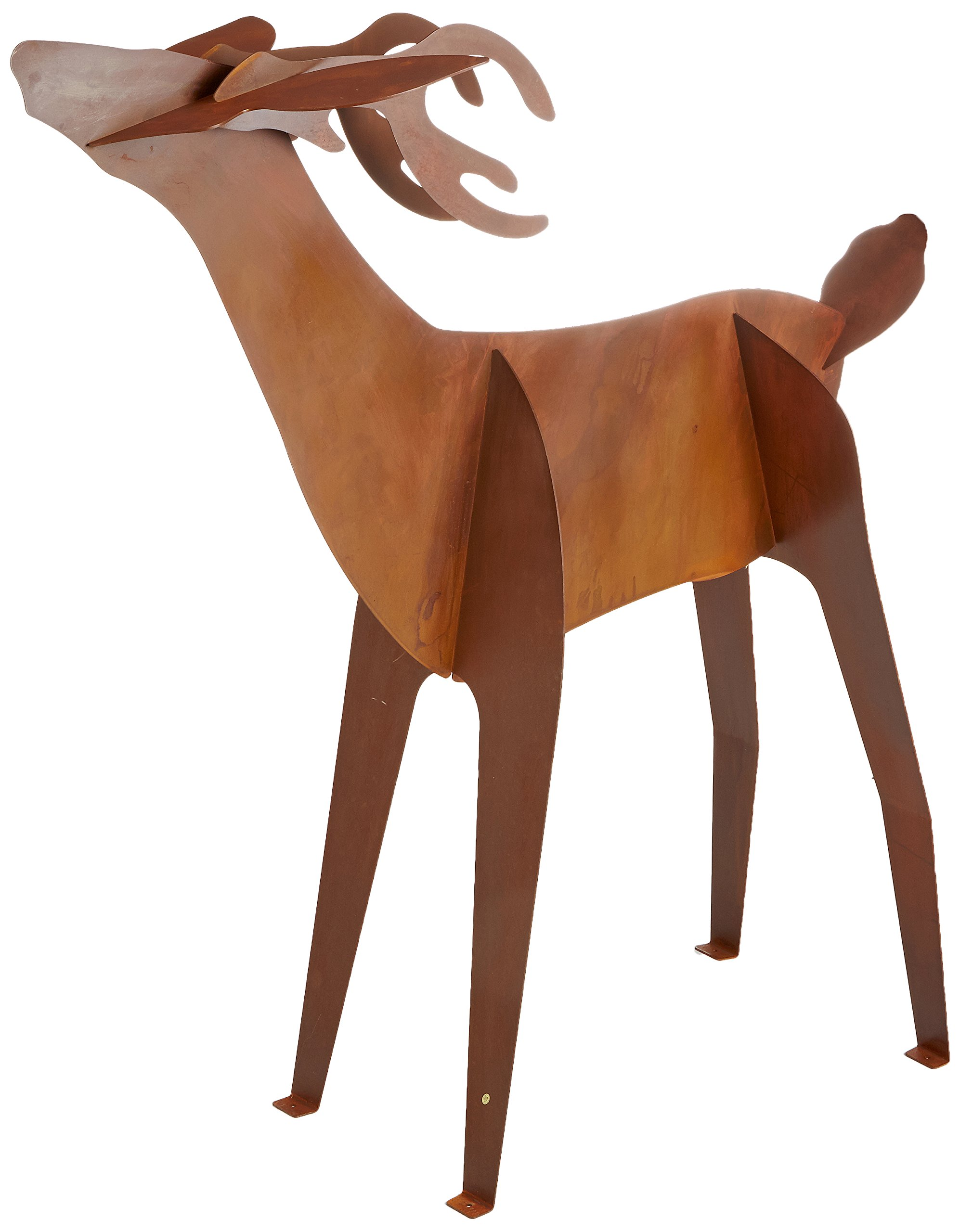 Fantasy Fauna LSBH-81 Buck 'Testing The Winds' Pre-Rusted Steel Sculpture, Life Size