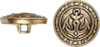 product image for C&C Metal Products 5019 Fancy Edge Anchor Metal Button, Size 24 Ligne, Antique Gold, 72-Pack