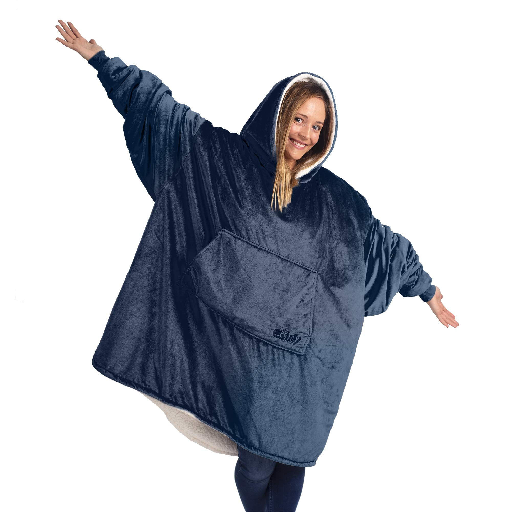 THE COMFY: Original Blanket Sweatshirt, Seen on Shark Tank, Invented by 2 Brothers, Warm, Soft, Cozy, Wearable Sherpa Hoodie, Multiple Colors, One Size Fits All, Adults, Men, Women, Teens, Friends by THE COMFY