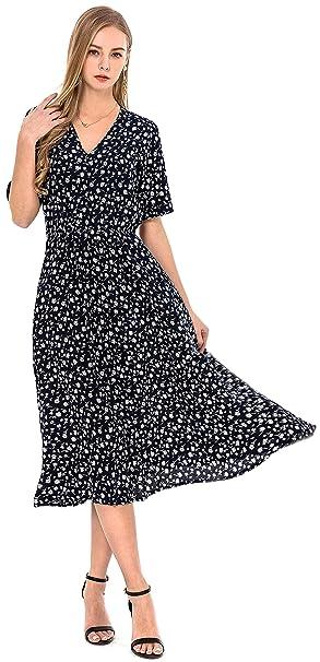 d71b3d345058 Wantdo Abiti Lungo Vestiti da Spiaggia Bohemian Beach Dress Donna Blu Scuro  Small