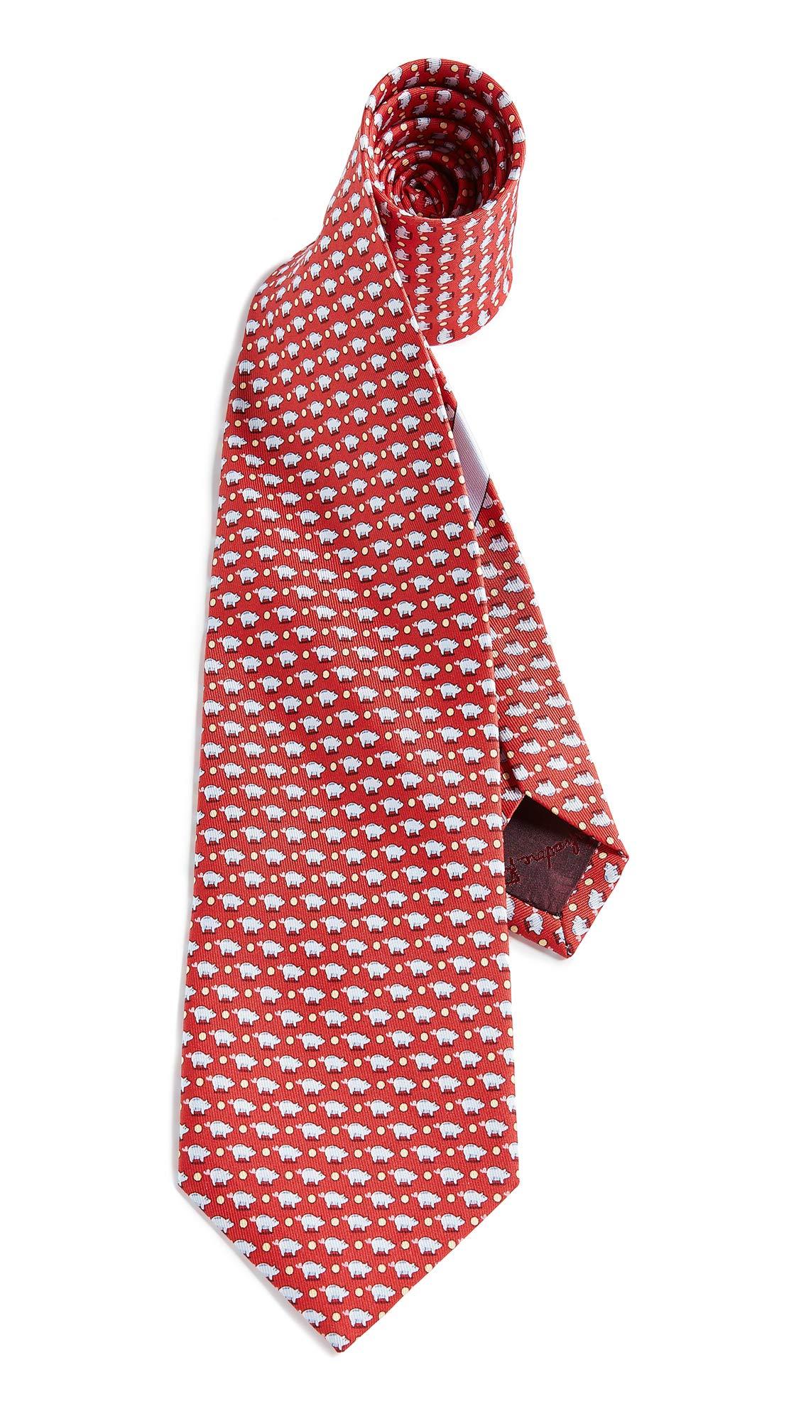 Salvatore Ferragamo Men's Pig Tie, Red, One Size