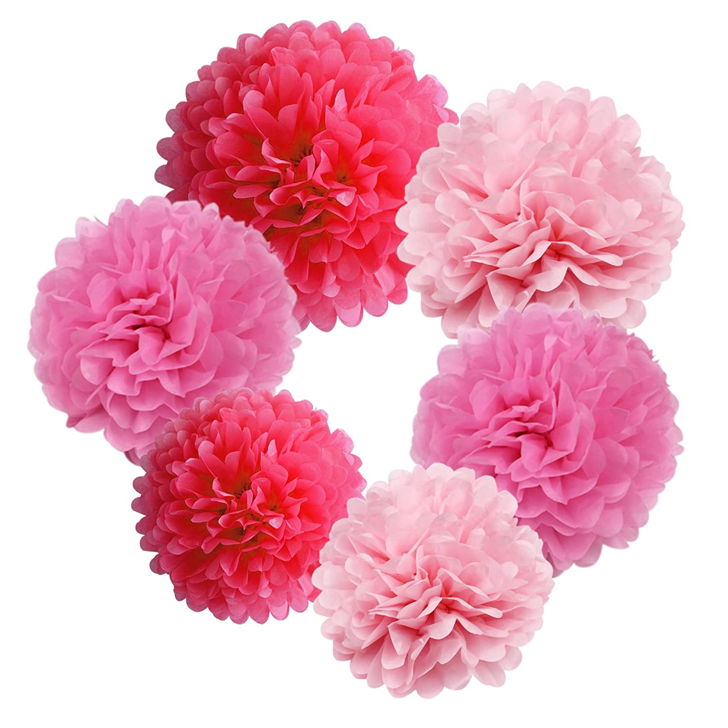 BELLE VOUS 13 Piece Pink Tissue Paper Pom Pom Decorations Set with Banner Various Size Small, Medium & Large Pom Poms - Large Pompoms for Birthday Parties, Weddings, Baby Showers & Gender Reveal