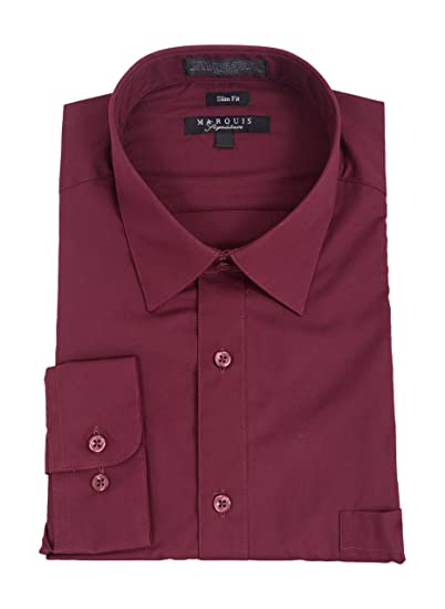 ae0fc660fe2a Image Unavailable. Image not available for. Color: Marquis Mens Slim Fit  Solid Burgundy Wrinkle Resistant Cotton Blend Dress Shirt