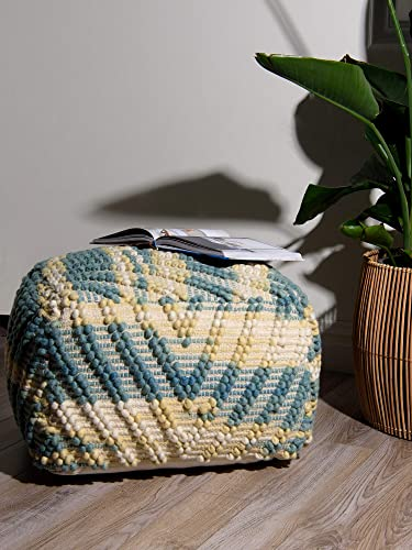 Best Home Fashion Textured Zigzag Pouf