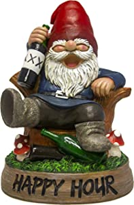 World of Wonders - Gnaughty Gnomes Series - Come On, Get Happy! - Collectible Drunk Gnome Day Drinking Wine Booze Figurine Party Time Bar Happy Hour Sign Home Decor Accent Garden Accessory…
