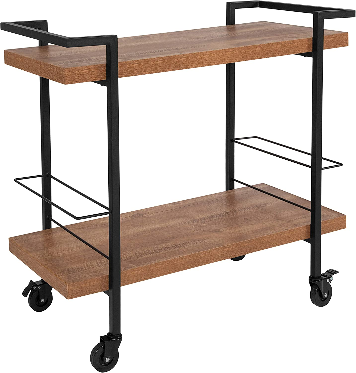 Taylor Logan Rustic Wood Grain Kitchen Bar Cart with 2 Storage Compartment Racks