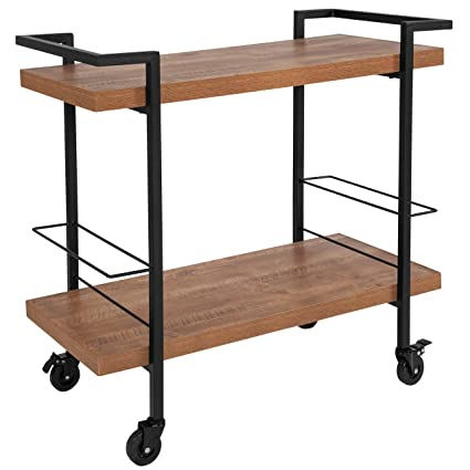 Bon Taylor + Logan Rustic Wood Grain Kitchen Bar Cart With Two Storage  Compartment Racks