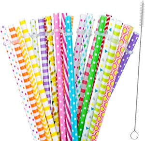 """30 Pieces Reusable Straws,BPA-Free,9"""" Colorful Printing Hard Plastic Stripe Drinking Straw for Mason Jar Tumbler,Family or Party Use,Cleaning Brush Included(Random Pattern)"""