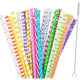 """30 Pieces Reusable Straws,BPA-Free,9"""" Colorful Printing Hard Platic Stripe Drinking Straw for Mason Jar Tumbler,Family or Party Use,Cleaning Brush Included"""