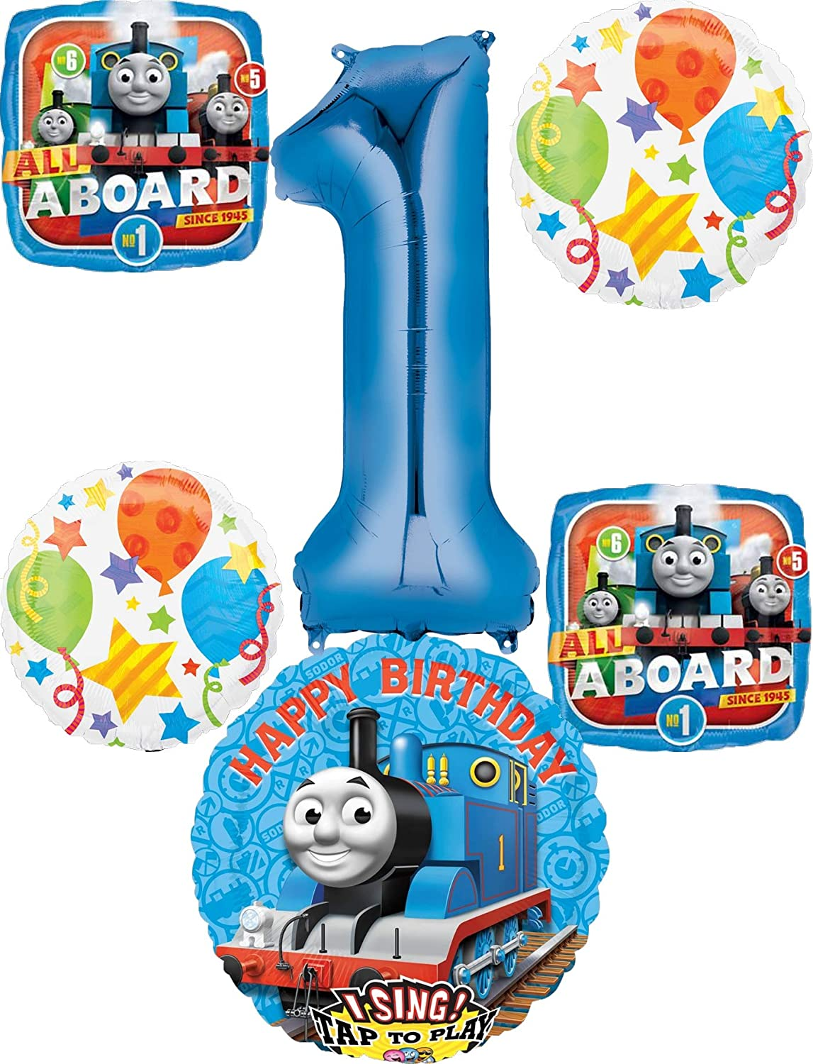 Thomas the Train Party Supplies 1st Birthday Sing A Tune Tank Engine Balloon Bouquet Decorations