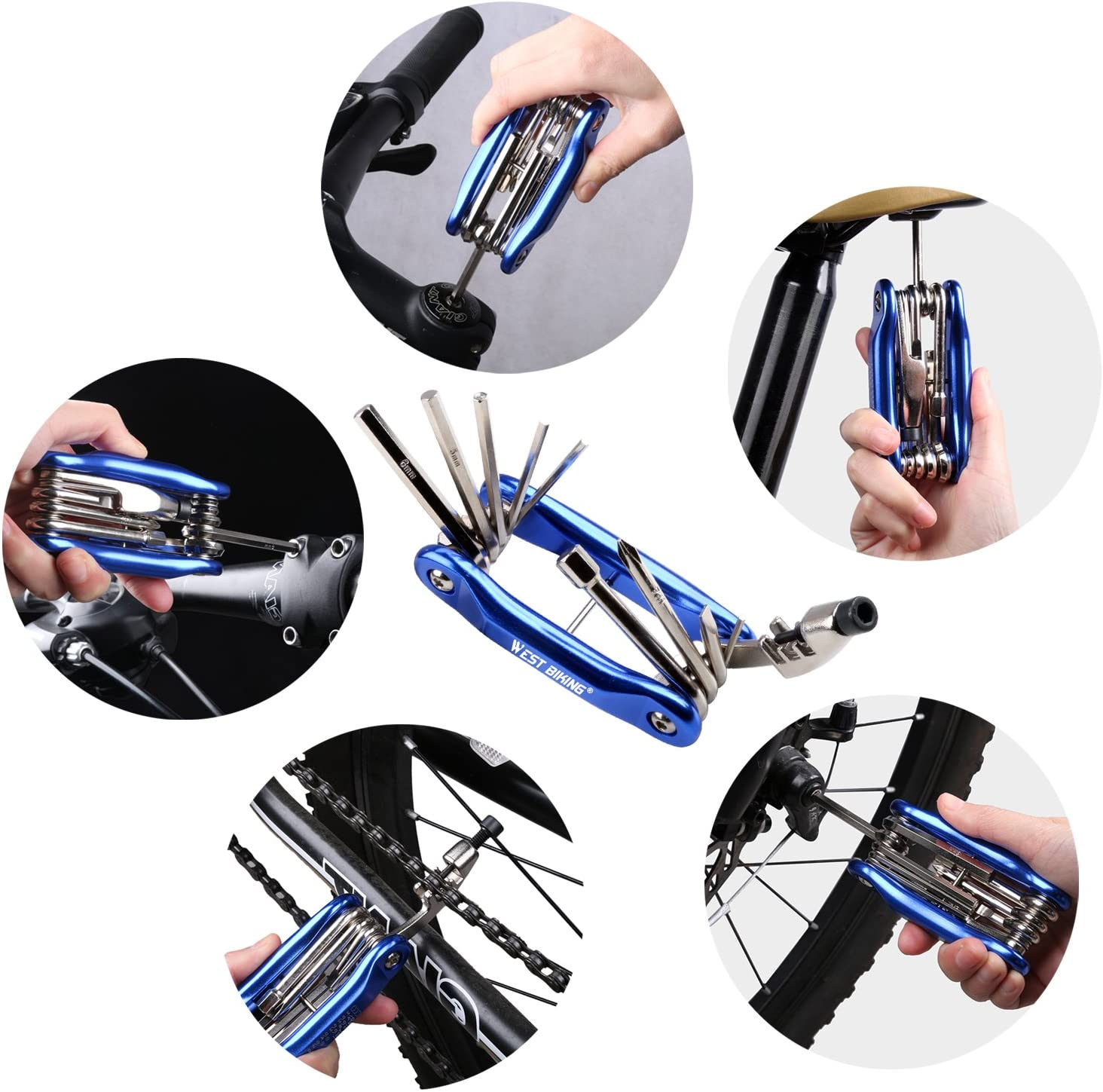 West Biking Bike Multi Fixing Tools Carbon Steel Portable Compact Multifunctional Mountain Bike Cycling Allen Key Wrench Set for MTB Road Bike Cycling Accessories