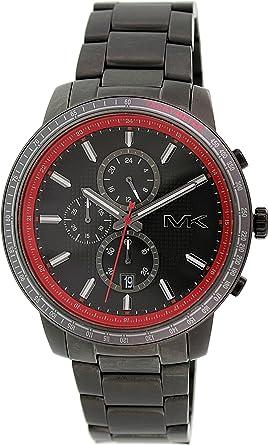 amazon com michael kors granger chronograph black and red dial michael kors granger chronograph black and red dial gunmetal ion plated mens watch mk8363