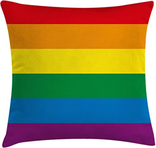 Ambesonne Pride Throw Pillow Cushion Cover, Horizontal Rainbow Colored Flag of Gay Parade Freedom Equality Love Passion Theme, Decorative Square Accent Pillow Case, 24 X 24 , Rainbow
