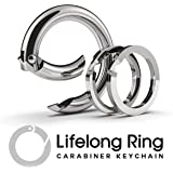 Lifelong Ring Fashion Carabiner Keychain w/ 2 Matching Key Rings Set, 100 Series Universal Size, Pure Round Circle Design, Strong, Solid Metal Keychain Clip, Key Clip, Key Organizer (Silver)