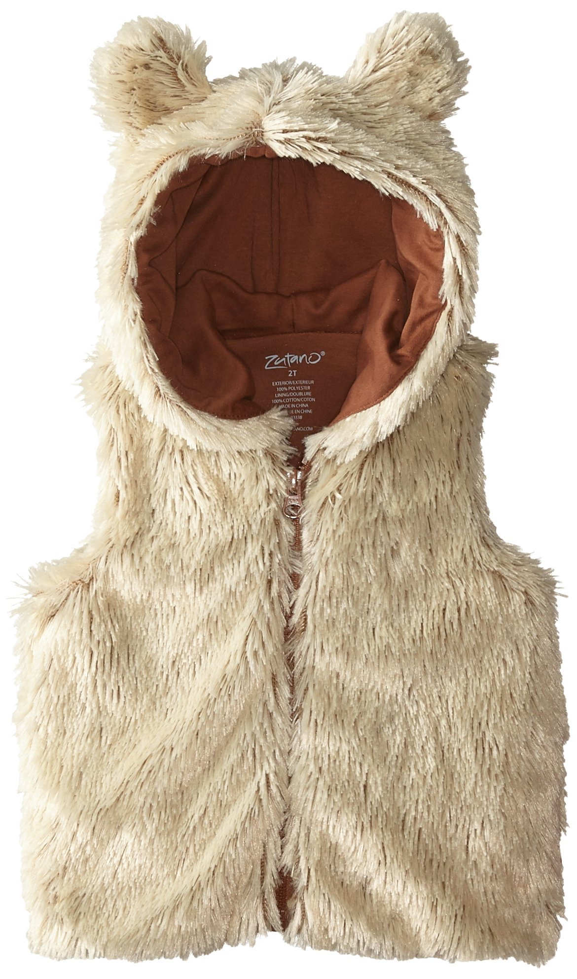 Zutano Little Girls' Toddler Shaggy Vest with Ears, Toffee, 2T by Zutano