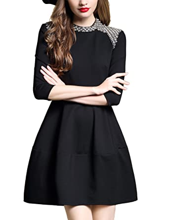 94e94589c4 DanMunier Women s 3 4 Sleeve Fit-and-Flare Beaded Casual Cocktail Party  Dress   8076