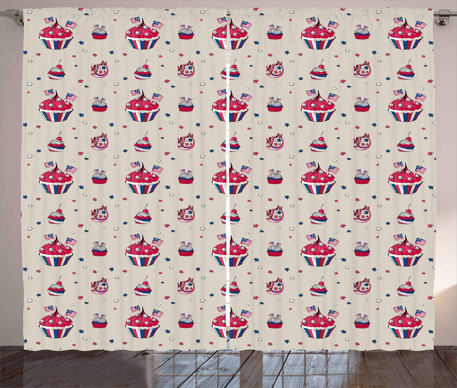 Ambesonne USA Curtains, Cupcakes with National Flags Cafe Yummy Homeland July Fourth Caricature, Living Room Bedroom Window Drapes 2 Panel Set, 108'' X 108'', Beige Navy Blue Red by Ambesonne