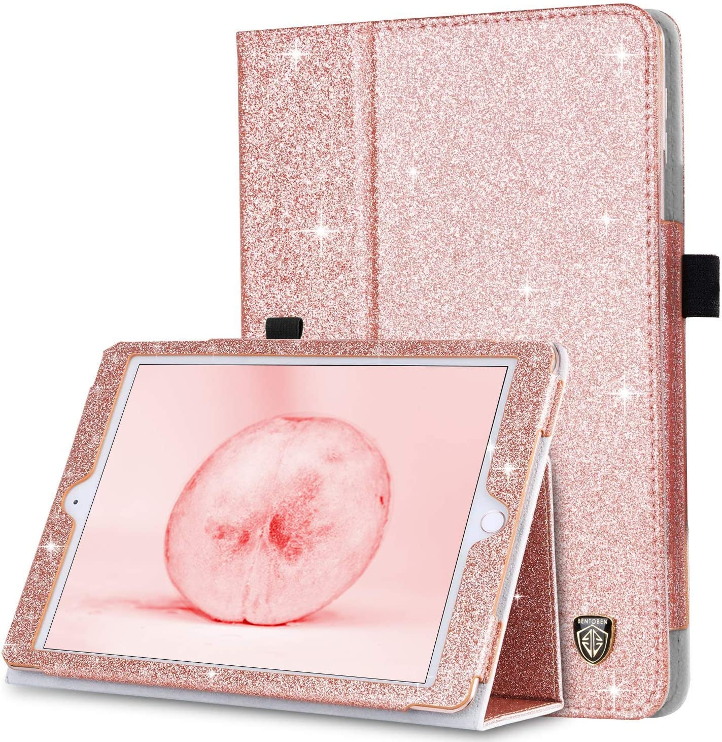 iPad Mini Case, iPad Mini 2 Case, iPad Mini 3 Case, BENTOBEN Glitter Sparkly Folio Folding Stand Cover with Holder & Auto Wake/Sleep Luxury Smart Case Without Stylus for iPad Mini 1/2/3, Rose Gold