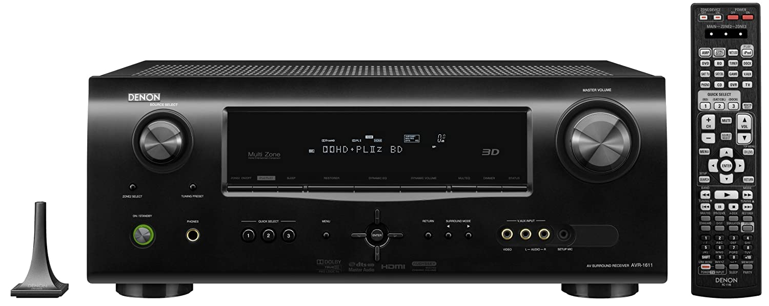 Denon AVR-1611 7 1 Channel A/V Home Theater Receiver (Black) (Discontinued  by Manufacturer)