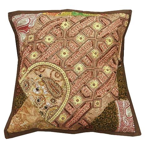 labor de retazos marrón cojín moldeado indio cubre sofá ...