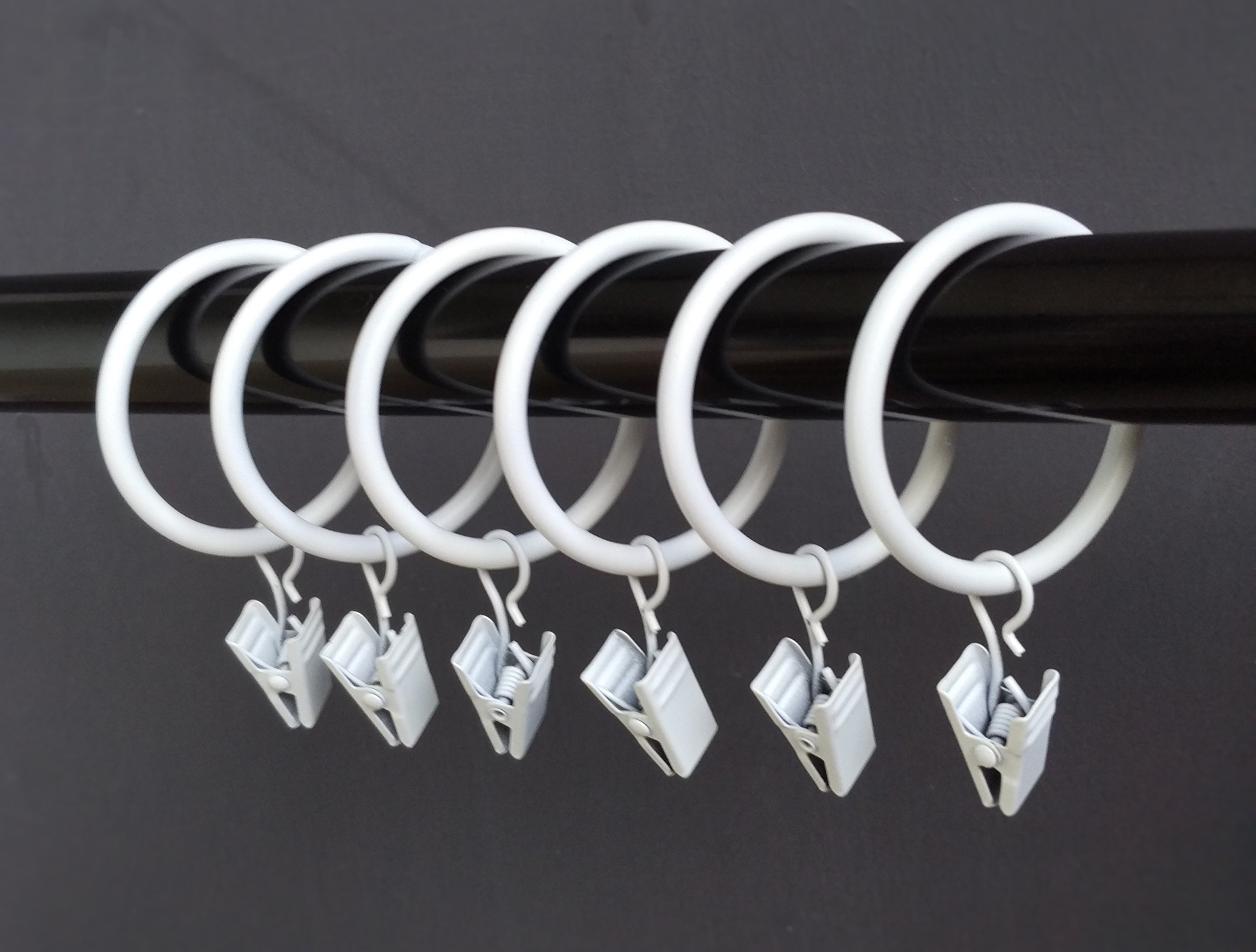 (2'')2 Inches Smooth Metal Curtain Rings with Clips (white) (20)