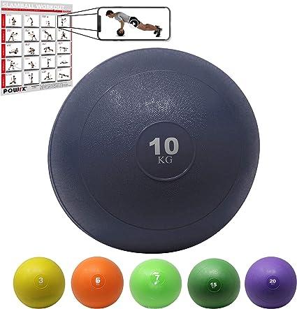 POWRX Slam Ball Balón Medicinal 10 kg - Ideal para Ejercicios de ...