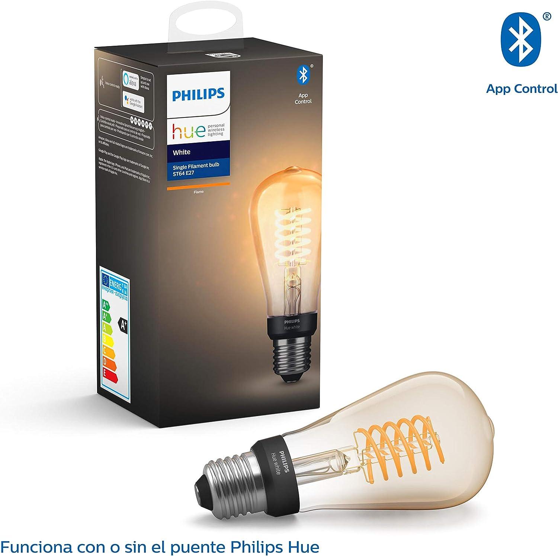 Philips Hue Bombilla Inteligente LED E27, con Bluetooth, Filamento ...