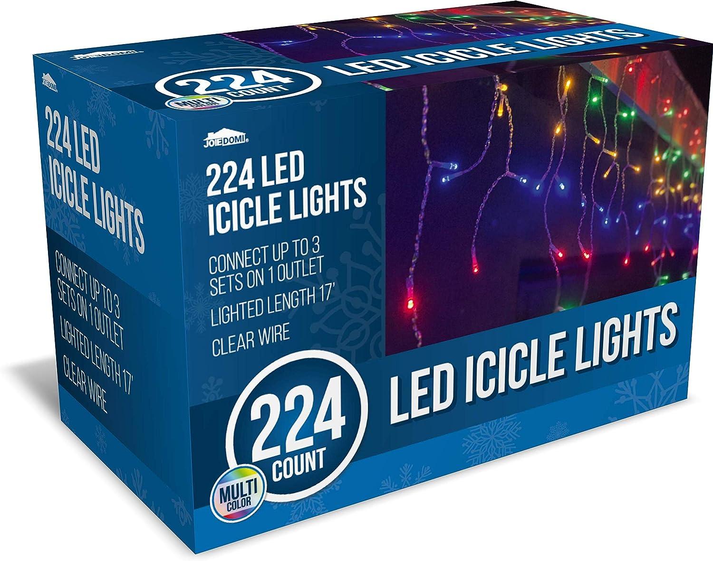 Joiedomi 224 LED Christmas Icicle Lights for Indoor & Outdoor Decorations, Christmas Events, Christmas Eve Night Decor, Christmas Tree, Eaves (Multi-Color)
