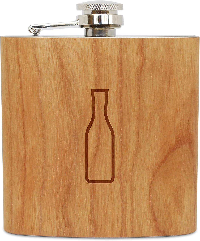 ワインデカンタ6 oz木製フラスコ(チェリー)、ステンレススチールボディ、ハンドメイドin USA