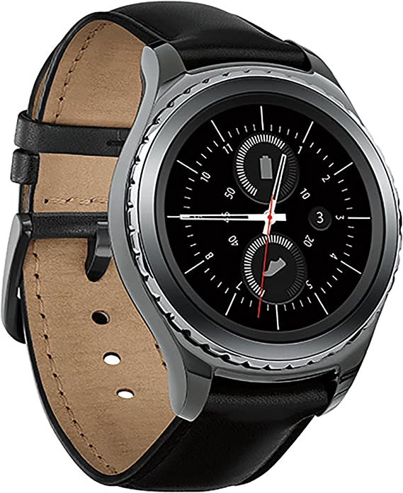 Samsung Gear S2 Classic Smartwatch w/Rotating Bezel and Leather Strap - Black