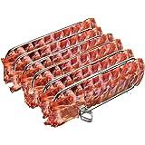 Rib Rack Stainless Steel – 6-Rib Capacity! Integrated Temperature Probe Holder - Never Risk Burnt Ribs Again! 100% Food…