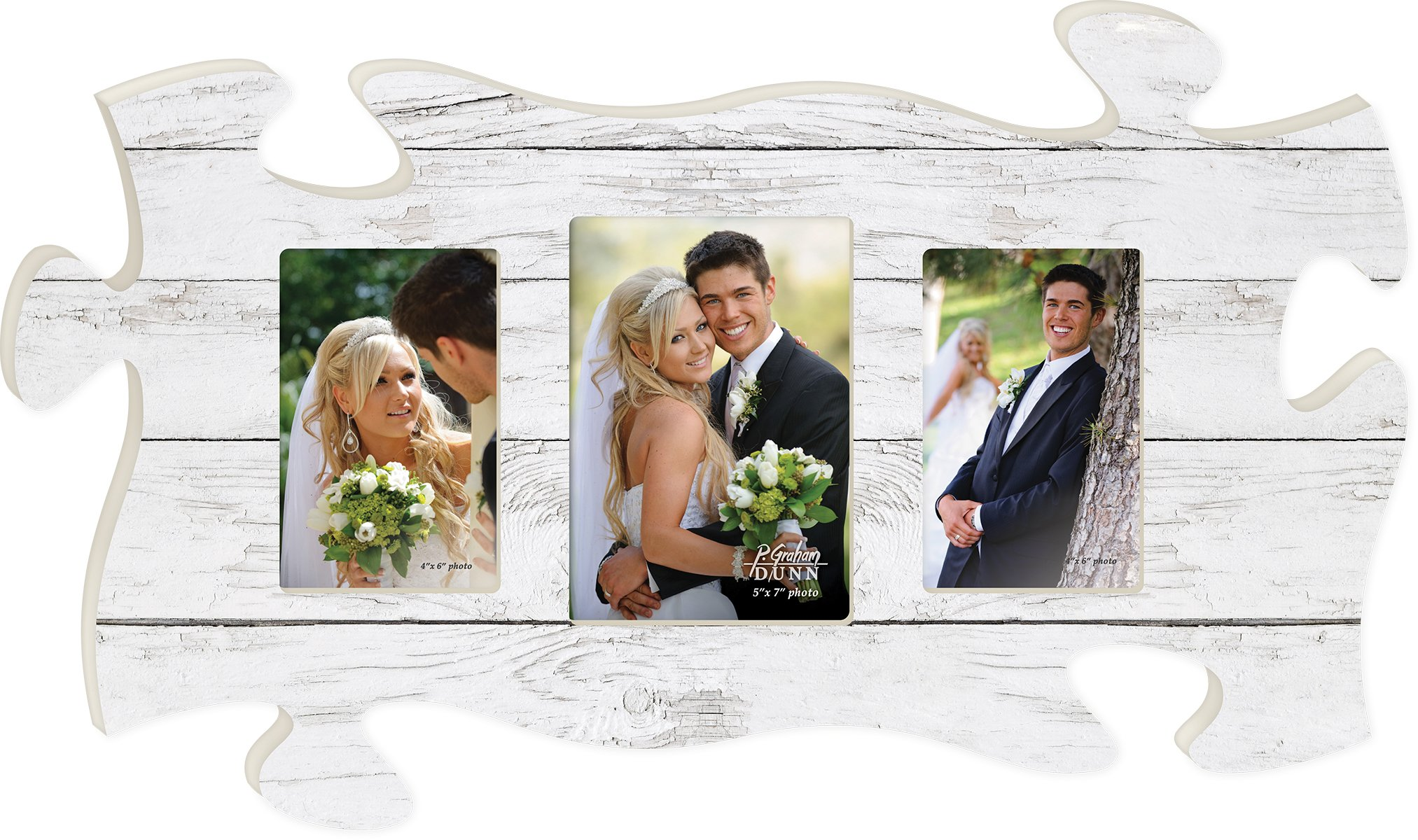 White Crackled Wood Look Three Photo 13 x 22 inch Wood Puzzle Piece Wall Sign Frame Plaque