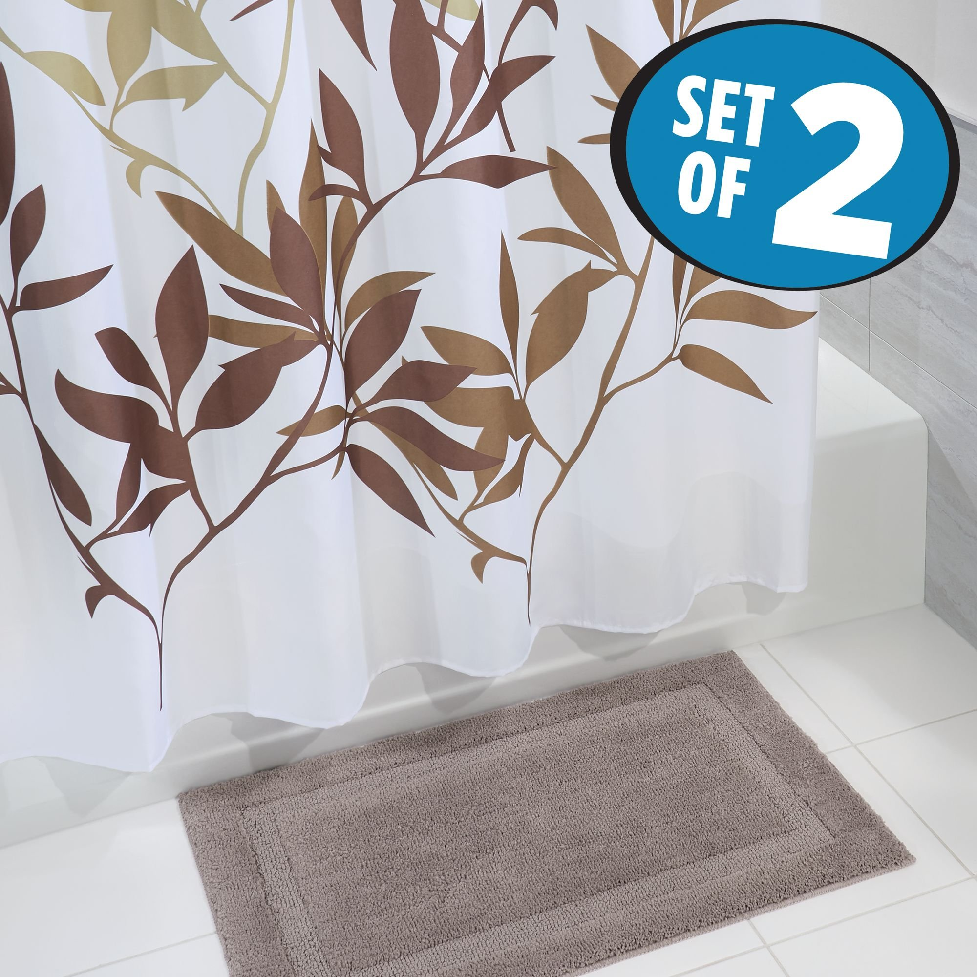 mDesign Bathroom Accessory Set, Leafy Shower Curtain, Spa Bath Mat/Rug - Set of 2, Brown/Taupe