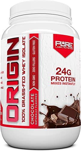 Grass Fed Whey Isolate Protein – 2 lb Chocolate – 100 Natural, Cold Processed, Undenatured w No Sweeteners or Added Sugars – rBGH Free, GMO-Free, Gluten Free, Preservative Free – Pure Whey