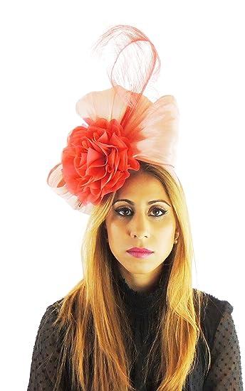 381a46e8 Silk Sinamay & Silk Flower Elegant Ladies Ascot Wedding Fascinator Hat Coral:  Amazon.co.uk: Clothing
