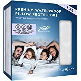 UltraPlush King Size Waterproof Pillow Protector - Dust Mite, Bed Bug Cover - Hypoallergenic - Zippered - Set of 2