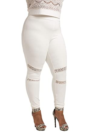 1f95d49198271 Poetic Justice Plus Size Curvy Women's Ivory Lace Insets Pull On Ponte  Legging Size 1X