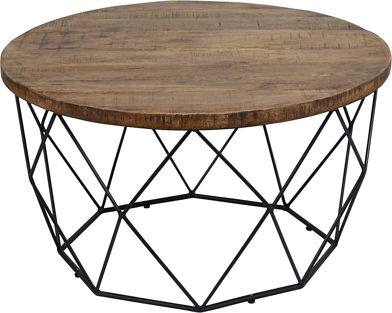 Benjara Bm195730 Mango Wood Round Coffee Table With