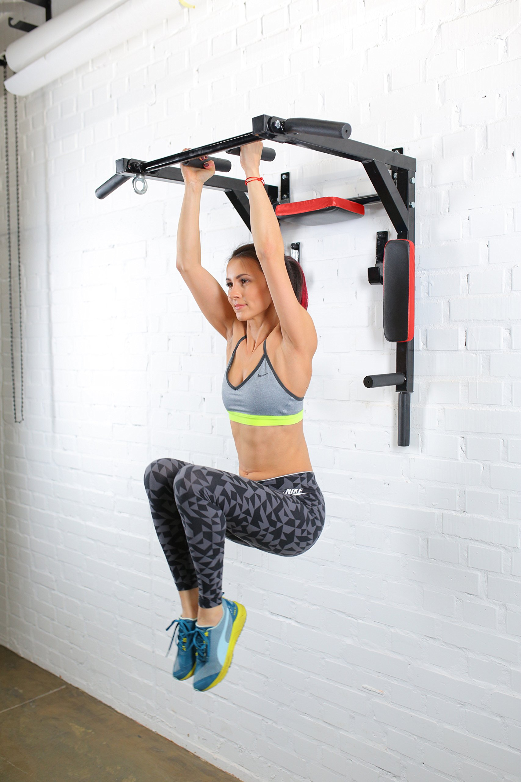 Wall Mounted Pull Up Bar - Pullup Bar Wall Mount - Chin Up Bar - Pull Up Bars and Dip Bar - Pullup and Dip Bar - Dip Station Pull Bar - Pullup Bars Outdoor and Home Room or Garage Gym Multi Grip - Pul by BAR2FIT QUALITY SPORTS EQUIPMENT (Image #8)