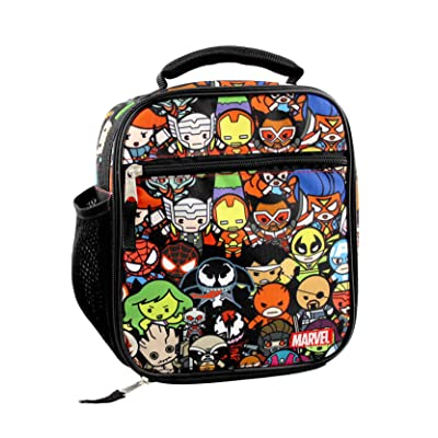 Marvel Kawaii Avengers Girls Boys Soft Insulated School Lunch Box (One Size, Black/Multi): Kitchen & Dining