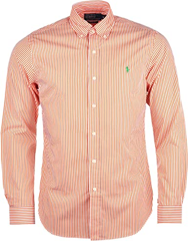 Ralph Lauren Camisa Ajustada de Sport a Rayas Manga Larga Hombre (Naranja): Amazon.es: Ropa y accesorios