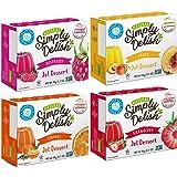 Simply Delish Sugar-Free Gluten-Free Natural Jel Dessert 4 Flavor Variety Bundle, (1) Each: Raspberry, Peach, Strawberry…
