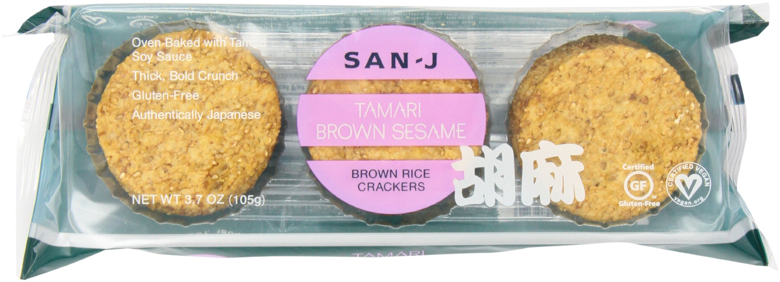 San-J Sesame Brown Rice Crackers, 3.7-Ounce Packages (Pack of 12)