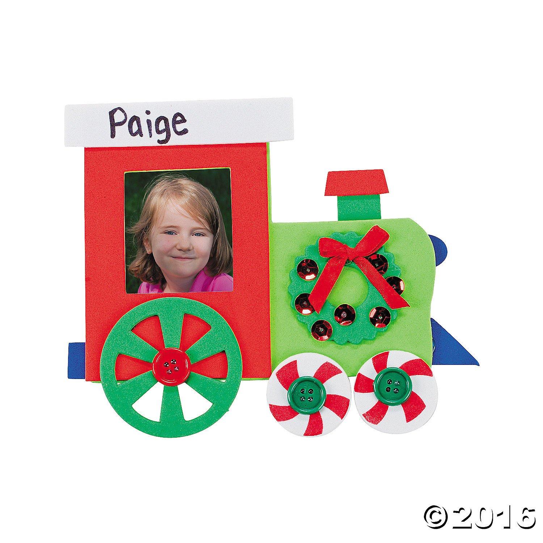 Amazon.com - 12 Christmas Train Photo Frame Magnet Craft Kits ...