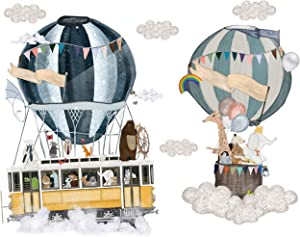 WAFT YEARN Hot Air Balloon Wall Stickers,Removable Wall Decals Stickers Decor for Girls Kids Bedroom Nursery Birthday Party Favor Large Stickers,26.3 inch X 31.8 inch