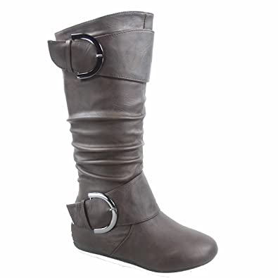 Bank-85 Women's Fashion Mid Calf Round Toe Slouch Comfort Casual Flat Boot