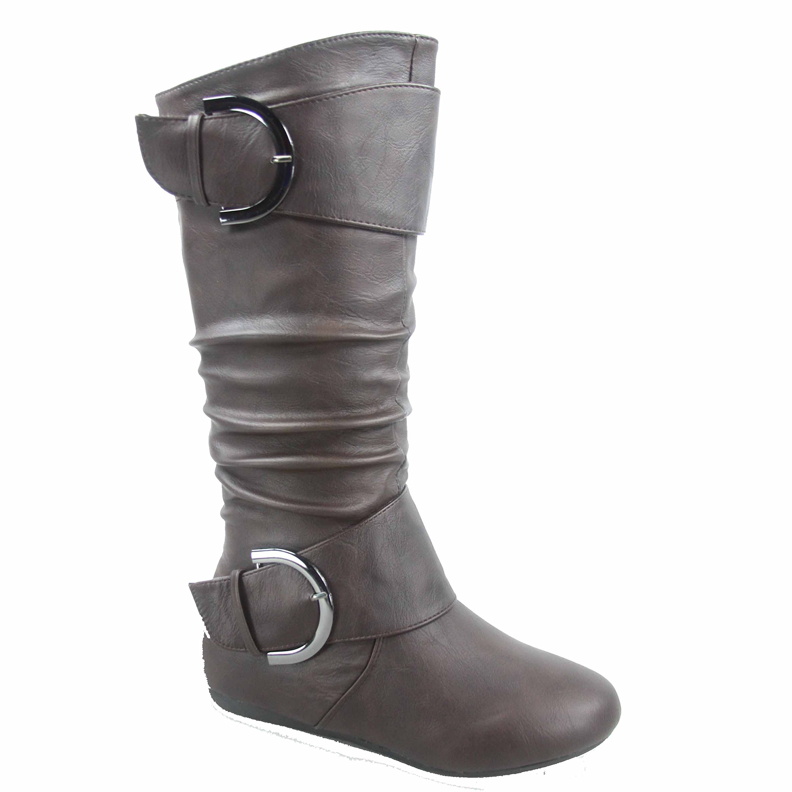 Top Moda Bank-85 Women's Fashion Mid Calf Round Toe Slouch Comfort Casual Flat Boot (6.5, Brown)