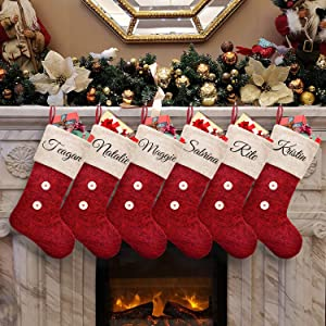 ElegantPark Personalized Christmas Stockings 6 Pack Red Burlap Christmas Stockings Monogrammed Custom Large Xmas Rustic Holiday Fireplace Home Decoration Gifts for Family