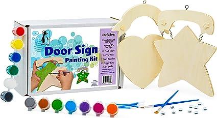 VHALE 4 Set Paint Your Own Door Signs Kids Bedroom Locker Room Classroom Crafts